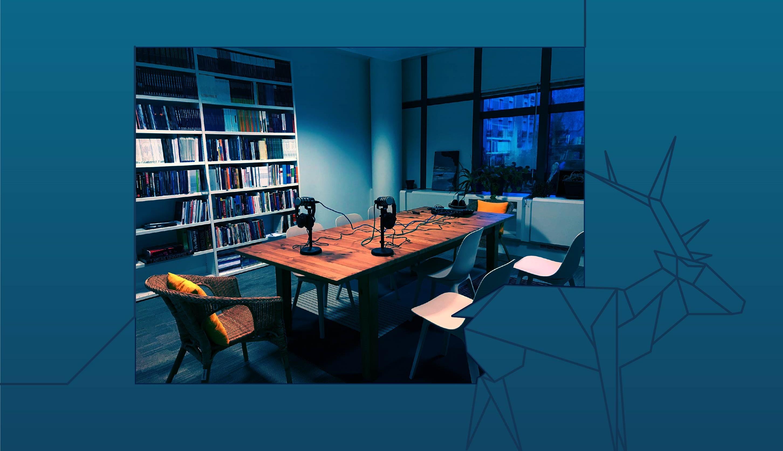 Photo of EUISS podcast recording studio