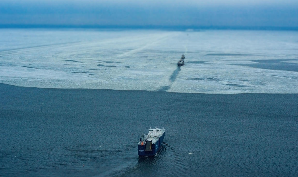 Two ships sailing through the Arctic