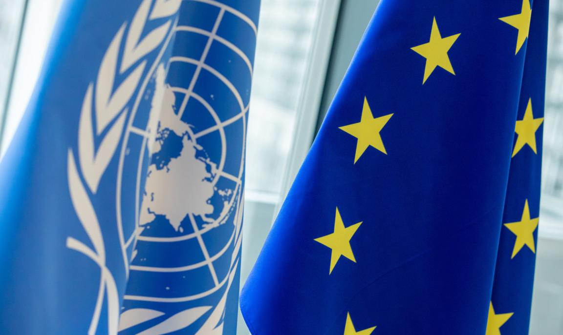 EU and UN flags