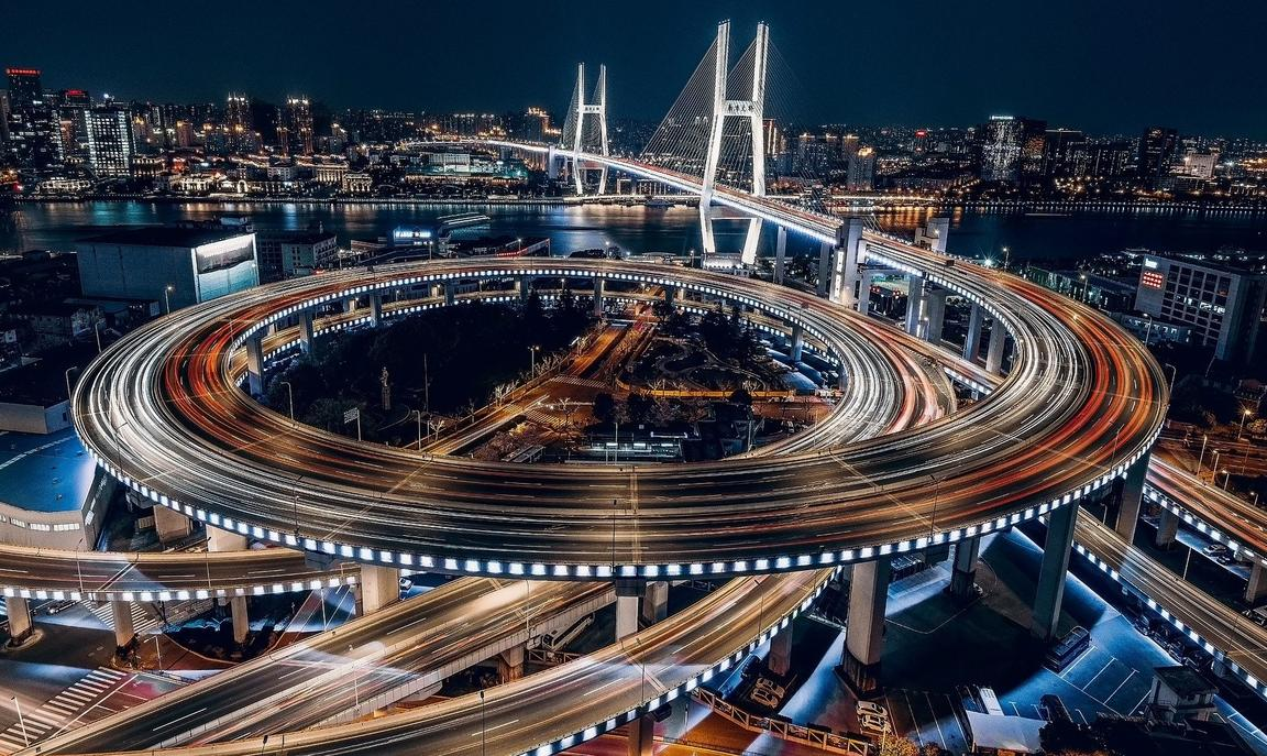 Night image of bridge and motorway in Shanghai