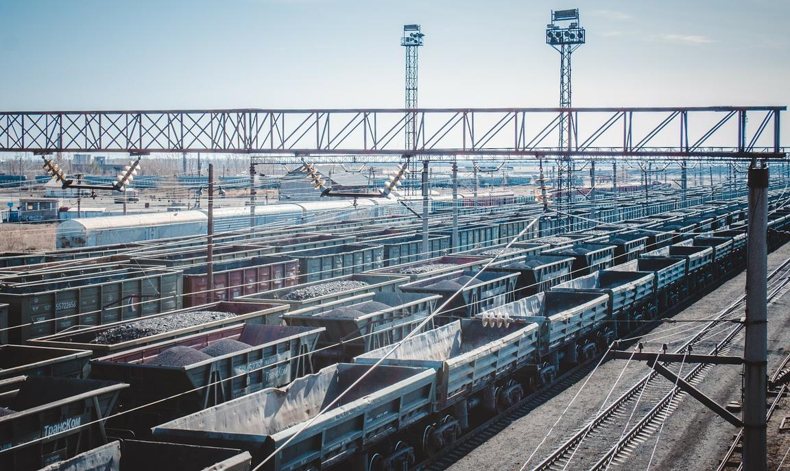 Railway junction in Kazakhstan with multiple containers