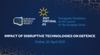Background image of online conference on emerging disruptive technologies on defence