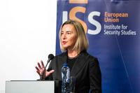 HR/VP delivering keynote speech at EUISS Annual Conference
