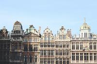 Facade view of buildings in Brussels, Belgium